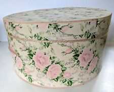 "Vintage Hat Box Shabby Chic Pink Rose Floral 14"" Cardboard Cord Rope Handle"