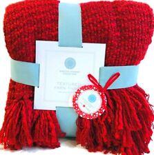 """New Knit Textured Fringed Throw Blanket Red 60""""x50"""" Martha Stewart Soft  Gift"""