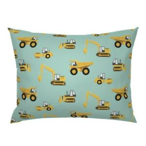 Digger Construction Cat Steam Roller Construction Trucks Pillow Sham by Roostery