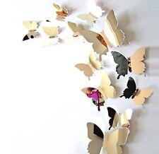 Lot de 12 Papillons 3D effet miroir, autocollants, stickers muraux
