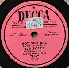 Red Foley Hot Dog Rag Country Western Jazz Vocal DJ 78 NM That Old River Line
