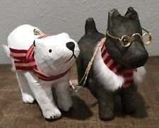 Dog & polar bear Christmas Ornaments Set Of 2 Paper Mache Tree Decor NEW