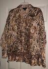 Women?s 3X Blouse Shirt Top Separates NYC Design Co Print Tan Brown Ruffles Lace