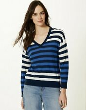 BNWT M&S Collection Blue Stripe Merino Wool Relaxed Fit V Neck Jumper size M