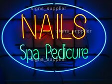 """New Nails Spa Pedicure Open Man Cave Neon Sign 32""""x24"""" Beer Lamp Light"""