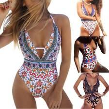 Womens One Piece Swimwear Floral Padded Monokini Backless Swimsuit Beachwear US