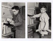 PHOTO Classe de Maternelle 1950 École Écolier Atelier Lecture Livre Bibliothèque