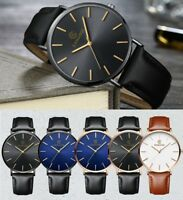 Luxury New Ultra Thin Slim Leather Fashion Men Quartz Wrist Watch - Gift Present