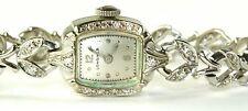 VINTAGE 1940'S LONGINES 14K WHITE GOLD DIAMOND BRACELET WATCH
