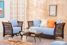 KraftNDecor Wooden Sofa Set with 1 center table in Black Colour