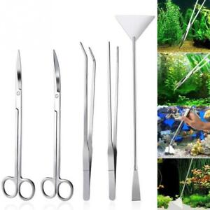 Straight Curved Tweezer Scissor Scraper Stainless Steel Aquarium Cleaning Tools