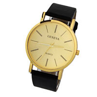 Luxury Mens Casual Watch Gold Leather Quartz Analog Fashion Sport Watch