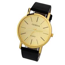 Moda Lujo Hombres Casual Watch Oro Leather Quartz Analog Reloj deportivo