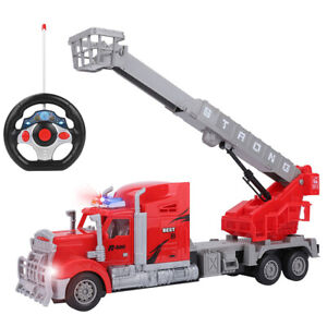 1:15 RC Remote Control Rescue Fire Truck With Extendable Ladder Lights Kids Toy