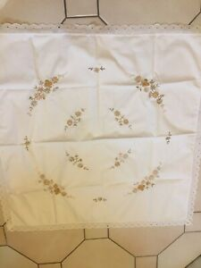 Vintage Tablecloth Gold Colour Flower Embroidery