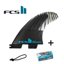 FCS II Performer PC Carbon Medium Tri Fins + Free Leash String & Wax Bit Bar