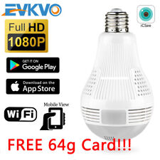 WIFI IP Camera Light Bulb HD 1080P SPY Panoramic 360 Degree Lamp Hidden ICSEE
