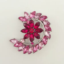 New Pink Moon Crescent Purple Flower Wedding Party Crystal Brooch Pin BR1215A