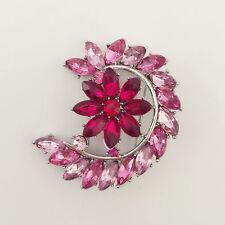 New Pink Moon Crescent Purple Cherry Flower Wedding Crystal Brooch Pin BR01215