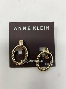 NWT Anne Klein E-Z Comfort Clip On Gold tone Door knocker Earrings