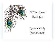 100 Personalized Custom Peacock Wedding Bridal Thank You Cards