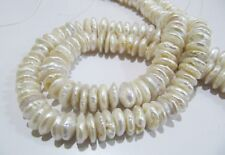 Natural Genuine Pearl Button Shape Beads White Creamish Disc Shape Beads,12mm