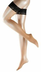 Falke Womens Lunelle Ultra-Transparent Shimmer 8 Denier Stockings - Powder/Black