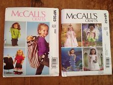 """2 McCall's Doll Clothes & Carrier AG 18"""" Patterns MP323 & M6452 Mermaid, Fairy +"""
