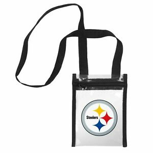 """Pittsburgh Steelers CLEAR Crossbody Tote Bag Purse Stadium Security 8"""" x 6"""""""