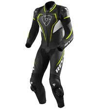 TUTA INTERA LEATHER SUIT MOTO REV'IT REVIT VERTEX PRO PELLE NERO BLACK YELLOW 50