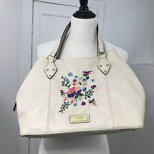 ce10a59367cb Nicole Miller New York Handbag Tote Purse Cream Faux Leather Floral  Embroidery