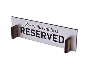 Maßgeschneiderte Reserved Tisch Top Zeichen - Silber/Schwarz + Holz Ständer