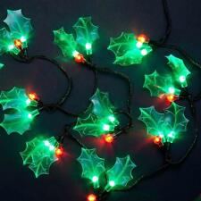 Festive Green Holly & Red Berry Sprig LED Christmas String Lights Xmas Garland