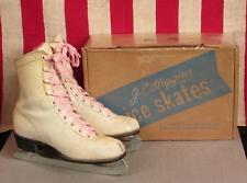 Vintage Jc Higgins White Leather Youth Ice Skates with Original Box Sz.13 Nice!