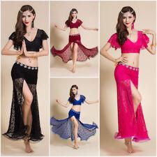 2 piezas Mujeres Disfraz de danza del vientre falda larga superior de encaje sexy Dancewear Ropa
