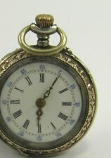Antique 19th century .800 German silver crown wind fob pocket watch working 6