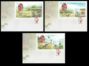 [SJ] Hong Kong 2014 Chinese Dinosaurs Animal Fauna Jurassic (Booklet FDC set)