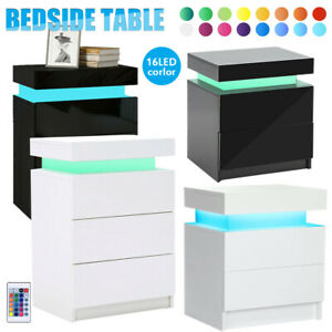 Bedside Tables Side Table Drawers RGB LED High Gloss Nightstand Storage Cabinet