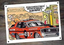 Allan Moffat Metal Tin Ford A4 Man Cave Cartoon Sign By Stonie