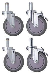 "Quantum Storage Systems WR-00H Swivel Stem Wheel Casters Kit 5"" x 1-1/4"""