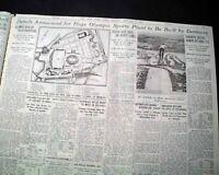 OLYMPIASTADION Sports Stadium & Berlin Summer Olympics Invites 1934 Newspaper