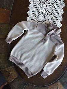 Hope And Henry Boys Beige ~ Brown Elbow Patch Sweater Size XS
