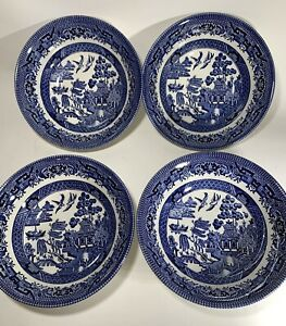 Churchill Blue Willow Set of 4 Bowls Fine English Tableware Staffordshire Englan