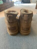 LL BEAN Wicked Good Shearling Low Ankle Boots, Tan, Suede, Women's Size 8, New!
