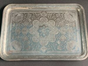 Outstanding quality large antique Persian silver serving tray, makers mark