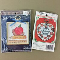 Lot of 2 teacher small cross stitch kits w frames Christmas ornament & red apple