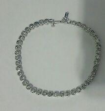 "9.4 ct natural round diamond buttercup 4prong tennis bracelet 14k white gold 8"""