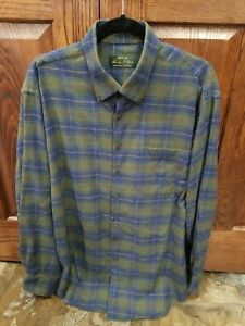 Orvis Mens Flannel Plaid Green and Blue Shirt Button Long Sleeve Cotton XL