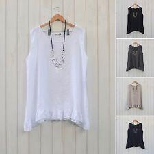Ladies Lagenlook Plus Size Tunic Top Linen Boho Quirky 16 18 20 22 24 26 8723