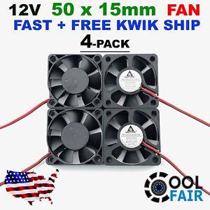 Gdstime 12v 50mm x 15mm Cooling Fan Brushless Axial 5015 50x50x15mm 2Pin 4Pcs